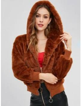 Faux Fur Hooded Winter Coat   Brown S by Zaful