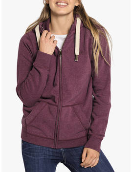 Fat Face Heritage Zip Through Cotton Hoodie, Dark Plum by Fat Face
