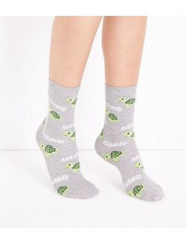 Pale Grey Awkward Turtle Patterned Socks by New Look
