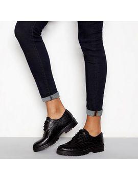 J By Jasper Conran   Black Leather Croc Effect Lace Up Shoes by J By Jasper Conran