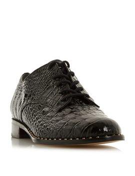 Dune   Black Leather 'francisco' Block Heel Brogues by Dune