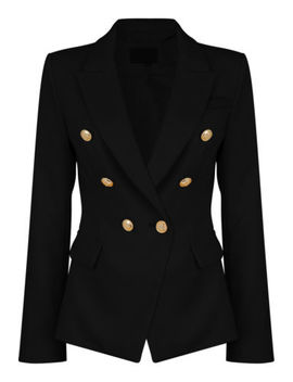 New Womens Double Breasted Golden Button Military Style Blazer Ladies Coat 8 14 by Ebay Seller