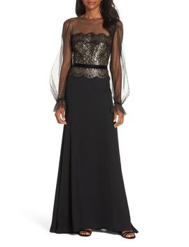 Crepe & Sequin Gown by Tadashi Shoji