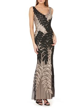 Leaf Soutache Trumpet Gown by Js Collections