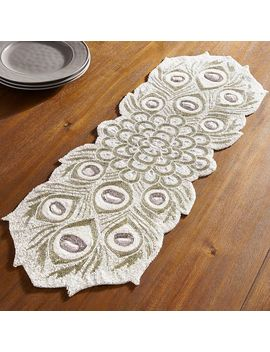 "Beaded White Peacock 36"" Table Runner by Pier1 Imports"