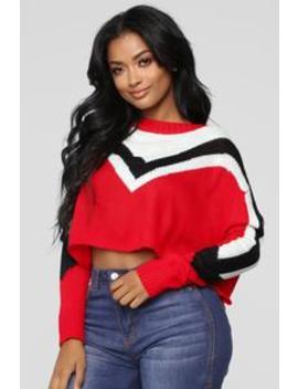 Girl Talk Sweater   Red by Fashion Nova