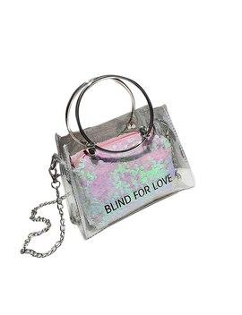2018 New Fashion Laser Transparent Jelly Bag Women Handbag Tote Bags Lady Portable Shoulder Bags Female Clear Design Handbags by Xiniu