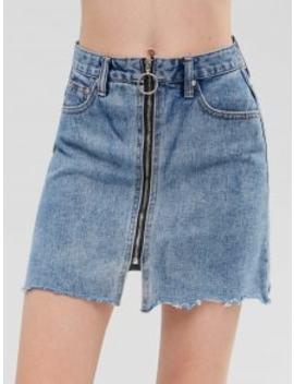 Zip Up Denim Skirt   Jeans Blue M by Zaful