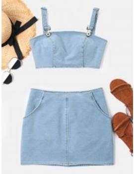 Crop Sleeveless Denim Skirt Set   Baby Blue Xl by Zaful
