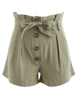 Belted Buttoned Shorts   Army Green S by Zaful