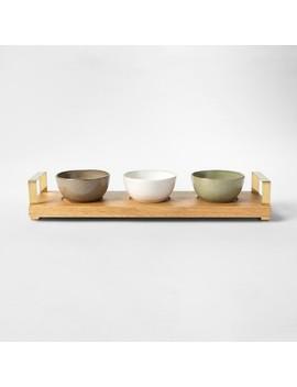 Cravings By Chrissy Teigen 4pc Tidbit Bowls With Wood Tray by Cravings By Chrissy Teigen