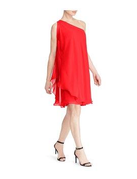 Georgette One Shoulder Dress by Lauren Ralph Lauren
