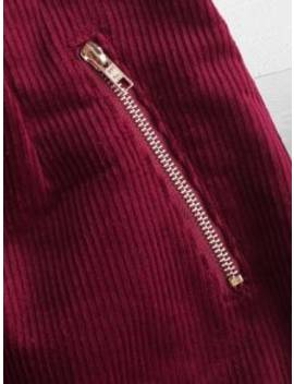 Button Up Corduroy Suspender Skirt   Red Wine M by Zaful
