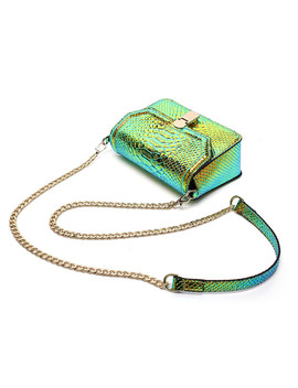 Fashion Chain Women Shoulder Messenger Bag Snake Skin Serpentine Crossbody Bags Women Leather Handbag High Quality Green Flap by Doodoo