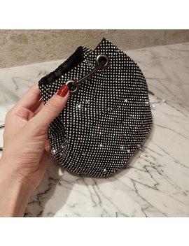 Luxury Diamonds Bucket Shoulder Bag Party Crossbody Bag Wedding Bag Fashion Shinning Messenger Black & Silver Mini Purse by Hanmei