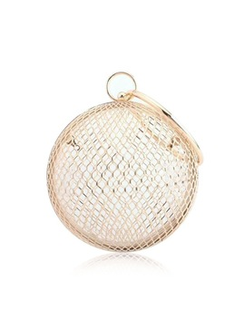 Hollow Metal Ball Women Shoulder Bag Gold Cages Women Round Clutch Bag Evening Ladies Luxury Wedding Party Bags Crossbody Purse by Sutoz