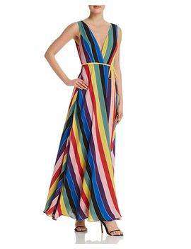 Rainbow Striped Maxi Wrap Dress   100 Percents Exclusive by Aqua