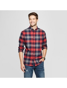 Men's Standard Fit 1 Pocket Flannel Long Sleeve Collared Button Down Shirts   Goodfellow & Co™ by Goodfellow & Co™