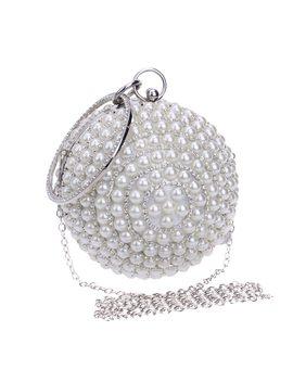 Drop Shipping Women's Round Ball Pearl Beaded Bag Diamond Tellurion Evening Bag Bridal Wedding Wrist Bag Clutches Purse Ym1060 by Ten Top A