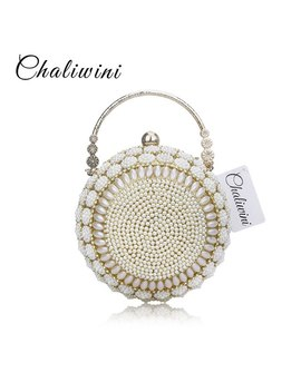 Chaliwini Women's Pearl Beaded Evening Bags Pearl Beads Clutch Bags Handmade Wedding Bags Glod Silver Quality Assurance by Chaliwini