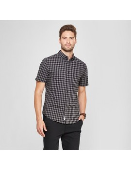 Men's Short Sleeve Soft Wash Slim Fit Button Down Shirt   Goodfellow & Co™ Charcoal by Goodfellow & Co™
