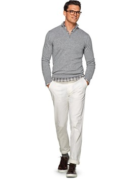 Light Grey Zip Sweater by Suitsupply