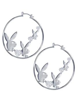 Officially Licensed Silver Plated Playboy Clear Rhinestone Hearts Hoop Earrings by Body Candy