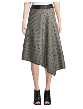 Striped Basketweave Asymmetric Midi Skirt by Helmut Lang