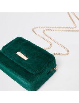 Dark Green Faux Fur Mini Boxy Cross Body Bag by River Island