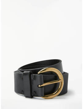 John Lewis & Partners Julia Leather Jeans Belt, Black by John Lewis & Partners