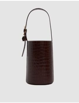 Small Croc Leather Bucket Bag by Trademark