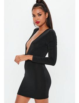 Black Plunge Gathered Mini Dress by Missguided