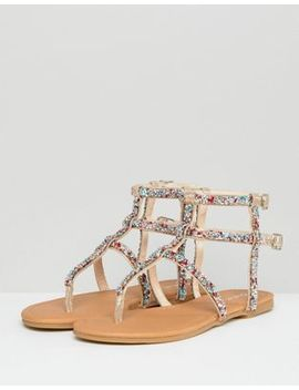 Qupid Embellished Gladiator Sandals by Shoes