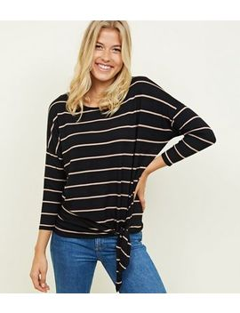 Brown Stripe Print Tie Front 3/4 Sleeve Top by New Look