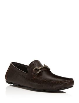 Men's Parigi Double Gancini Bit Pebbled Leather Loafers by Salvatore Ferragamo