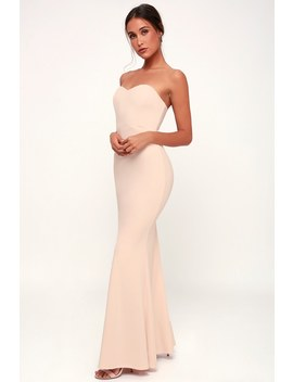 Stand In The Spotlight Blush Strapless Maxi Dress by Lulus