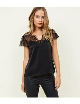 Black Lace Panel V Neck Top by New Look