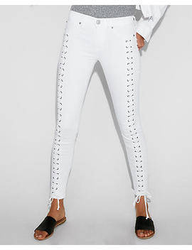 Mid Rise White Lace Up Stretch Ankle Leggings by Express
