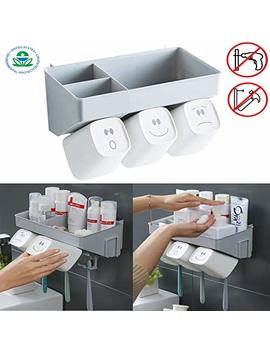 Luxury Bathroom Anti Dust Toothbrush Holder With 3 Cups No Drill Or Nail Needed Electric Toothbrush Toothpaste Storage Set Plastic by Luxury Bathroom