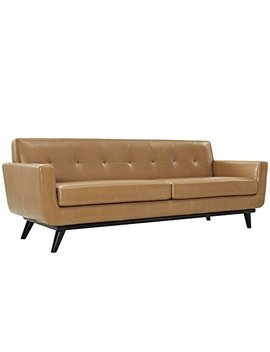 Modway Engage Mid Century Modern Upholstered Leather Sofa In Tan by Modway
