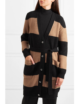 Belted Striped Ribbed Wool And Cashmere Blend Cardigan by Max Mara