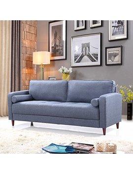 Mid Century Modern Linen Fabric Living Room Sofa (Dark Blue) by Divano Roma Furniture