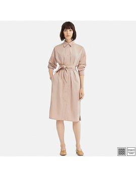 Women Uniqlo U Cotton Satin Long Sleeve Shirt Dress by Uniqlo