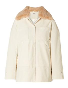 Ridgewood Faux Fur Trimmed Cotton Blend Corduroy Jacket by Ganni