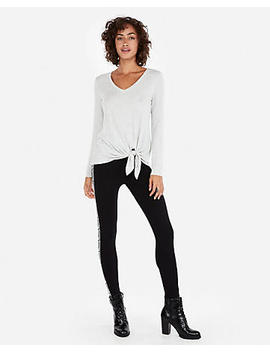 Express One Eleven Heathered Tie Hem Slim Tee by Express