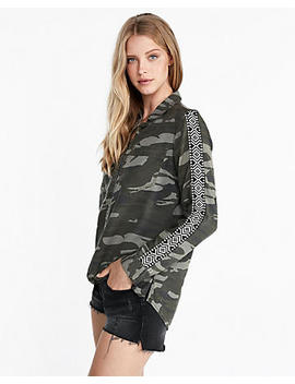 Camo Side Stripe Silky Soft Twill Boyfriend Shirt by Express