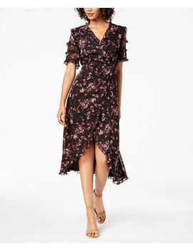 Floral Print Ruffled Wrap Midi Dress by Kensie