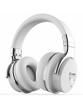 Cowin E7 Active Noise Cancelling Bluetooth Headphones With Microphone Wireless Headphones Over Ear, 30 H Playtime For Travel Work Tv Computer Cellphone   White by Cowin