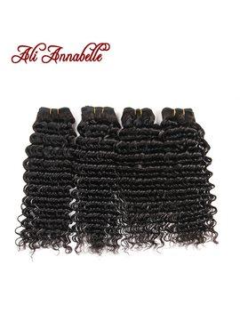 Ali Annabelle Hair Deep Wave Brazilian Hair Weave Bundles 100 Percents Human Hair Bundles Natural Color 4 Bundles Remy Hair Weave by Ali Annabelle