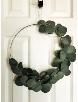 "Eucalyptus Wreath Modern Wreath Gift For Mom Mother's Day Simple Artificial 16"" Silver Metal Wreath Scandinavian Holiday Wreath Gift For Her by Etsy"